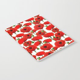 Red Poppy Pattern Notebook