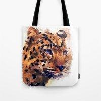 leopard Tote Bags featuring Leopard by jbjart