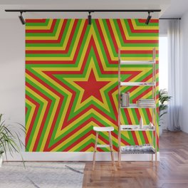 colorful concentric rasta star pattern Wall Mural