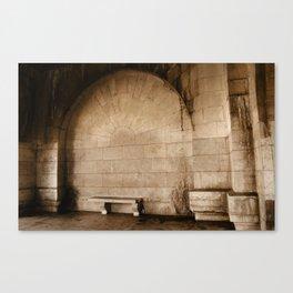 Empty Wine Bottle By The Seine Canvas Print