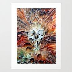 Bubble skull -oil Art Print