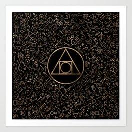 Philosopher's stone symbol and Alchemical  pattern #1 Art Print