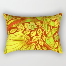 William Morris Cinnabar Forget Me Not Floral Art Nouveau Rectangular Pillow
