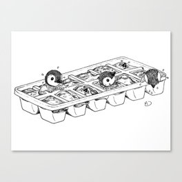 Penguins hatching from an ice cube tray Canvas Print