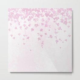 Pretty Soft Pink Trailing Ivy Leaf Print Metal Print