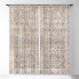 Silk Esfahan Persian Carpet Print Sheer Curtain