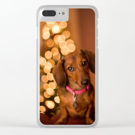 Dachshund Christmas Clear iPhone Case