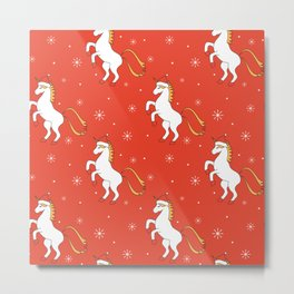 cute cartoon christmas pattern background with unicorn with santa hat Metal Print