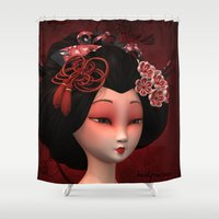 geisha Shower Curtains featuring Geisha by Heidy Curbelo