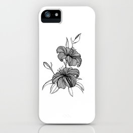 lilies Black & white iPhone Case