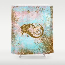 Faux Gold Glitter- REAL LIFE MERMAID On Sea Foam Shower Curtain