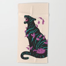 Black tiger Beach Towel