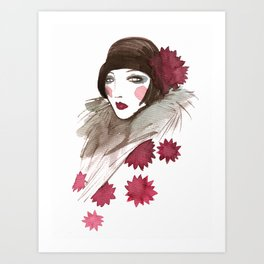 In a red pattern Art Print