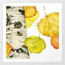 Falling Aspen Leaves Art Print