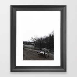 Lonely Bench in Iceland National Geysir Park Framed Art Print