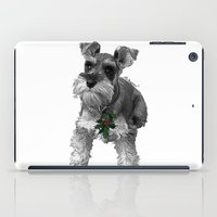 schnauzer iPad Cases featuring Christmas Schnauzer by RsDesigns