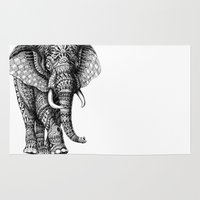 ornate elephant Area & Throw Rugs featuring Ornate Elephant v.2 by BIOWORKZ