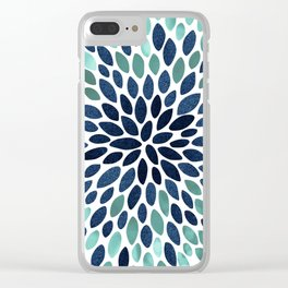 Flower Bloom, Aqua and Navy Clear iPhone Case