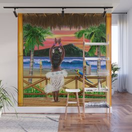 Hawaiian Sunset Hula Dancer Wall Mural