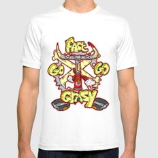 go fast go GRAZY ( vintage folding bicycle tribute - bull angry sketch handdrawn italian logo )  Mens Fitted Tee White MEDIUM
