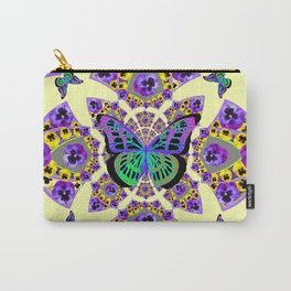 PURPLE  PANSIES & EXOTIC BUTTERFLY GEOMETRIC DESIGN Carry-All Pouch