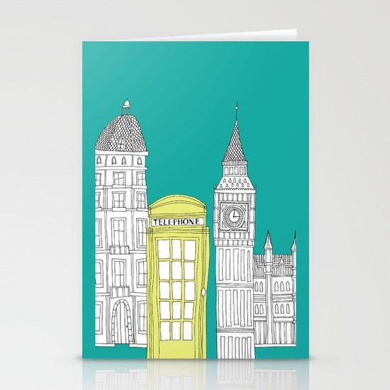 London - City prints // Red Telephone Box Stationery Cards