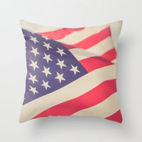 american flag Throw Pillows featuring American Flag by Leah M. Gunther Photography & Design