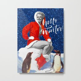 Hello Winter | Vintage Pin Up Girl Winter Collage Metal Print