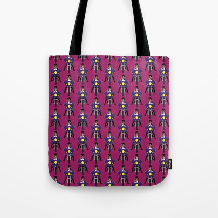 The Emoji-fication of His Purple Majesty: Motorcycle Tote Bag