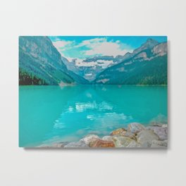 Digital Painting of a Sunny Summer's Day over Lake Louise in Banff National Park, Alberta Metal Print
