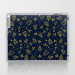 Gold Leaves Design on Dark Blue Laptop & iPad Skin