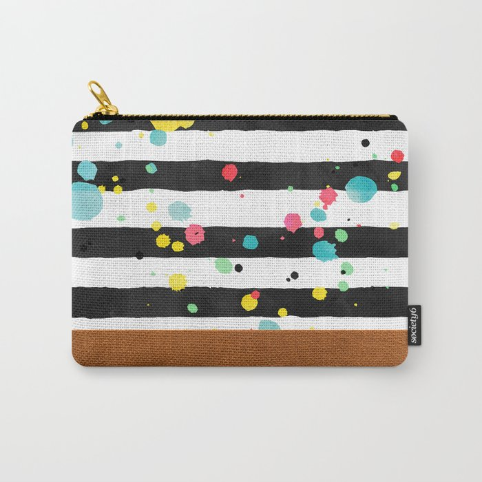 Watercolor splatters with brown leather Carry-All Pouch
