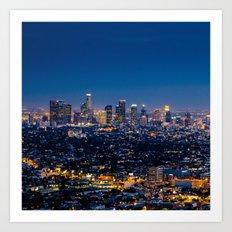 Los Angeles, California, I love LA Downtown Skyline, Golden lights, USA Sunset Blvd, Palms, Cali Map Art Print