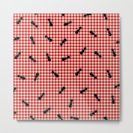 ant red gingham woven plaid tablecloth Metal Print