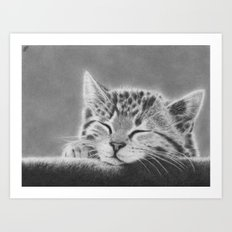 Sleepy Kitten Art Print