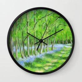 Bluebells in Rowley Wood Wall Clock