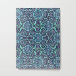 Poppy Pods Mint and Purple Metal Print