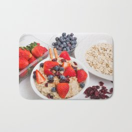 Oatmeal with Blueberries Strawberries Cranberries and Cinnamon Bath Mat