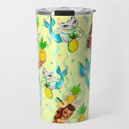 Tropical Pineapple Mermaid with Merkitties Travel Mug