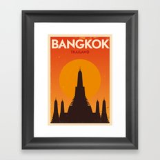 Bangkok City Retro Poster Framed Art Print