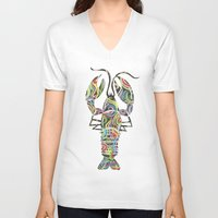 lobster V-neck T-shirts featuring Lobster by Kate Allison