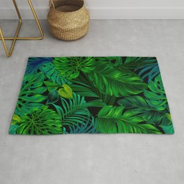 Fancy Tropical Floral Pattern Rug