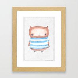 Owl in Stripes Framed Art Print