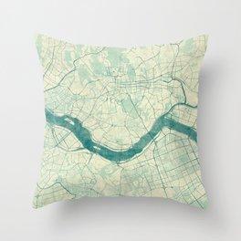 Seoul Map Blue Vintage Throw Pillow