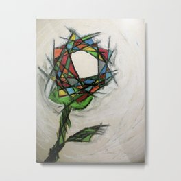 Stained Glass Rose Metal Print
