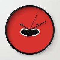power ranger Wall Clocks featuring Red Ranger Remix by hellostranger