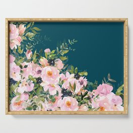 Floral Watercolor Roses, Teal and Pink, Vintage Serving Tray