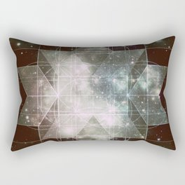 Galaxy Sacred Geometry: Dark Rhombic Hexecontahedron Rectangular Pillow