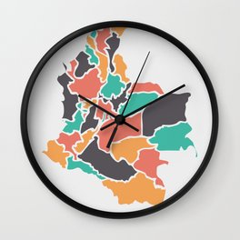 Colombia Map with states and modern round shapes Wall Clock
