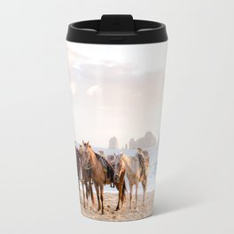 Horses and a horseman Travel Mug